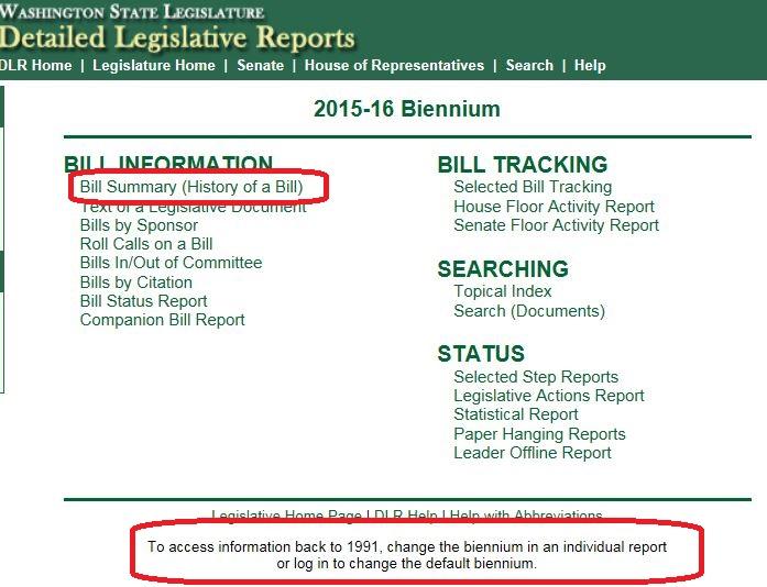 Detailed Legislative Reports