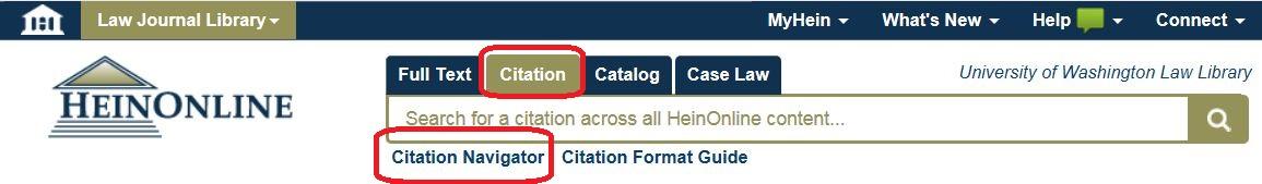 HeinOnline Citation Navigator