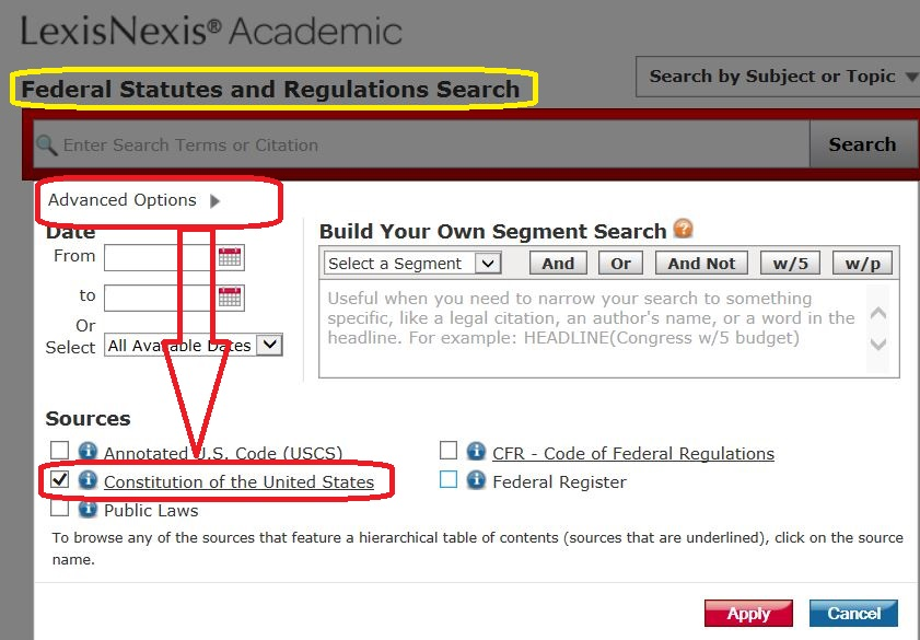Searching the U.S. Constitution on LexisNexis Academic