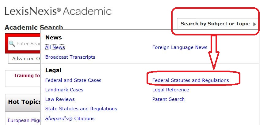 Searching Federal Statutes and Regulations on LexisNexis Academic