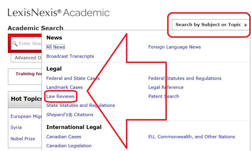 Finding Law Review Articles on LexisNexis Academic