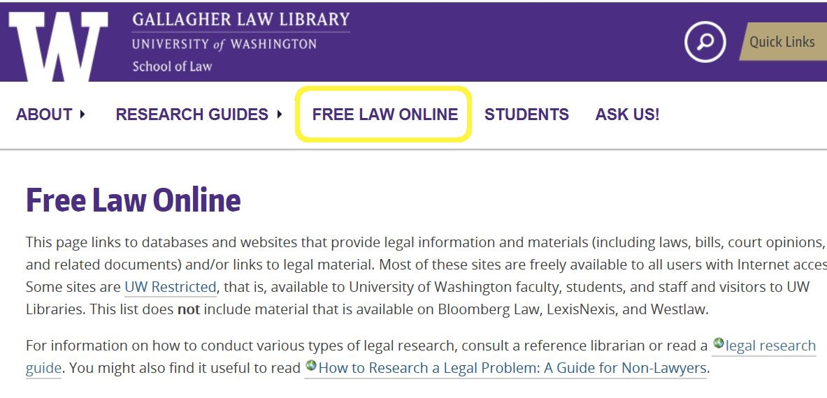Gallagher Law Library's Free Law Online