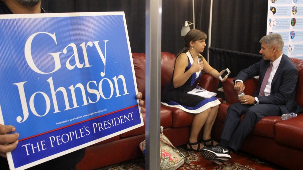 Gary Johnson does an interview at the LP Booth activists put together at Politicon. California was ready for action and LP Volunteers dominated the floor.