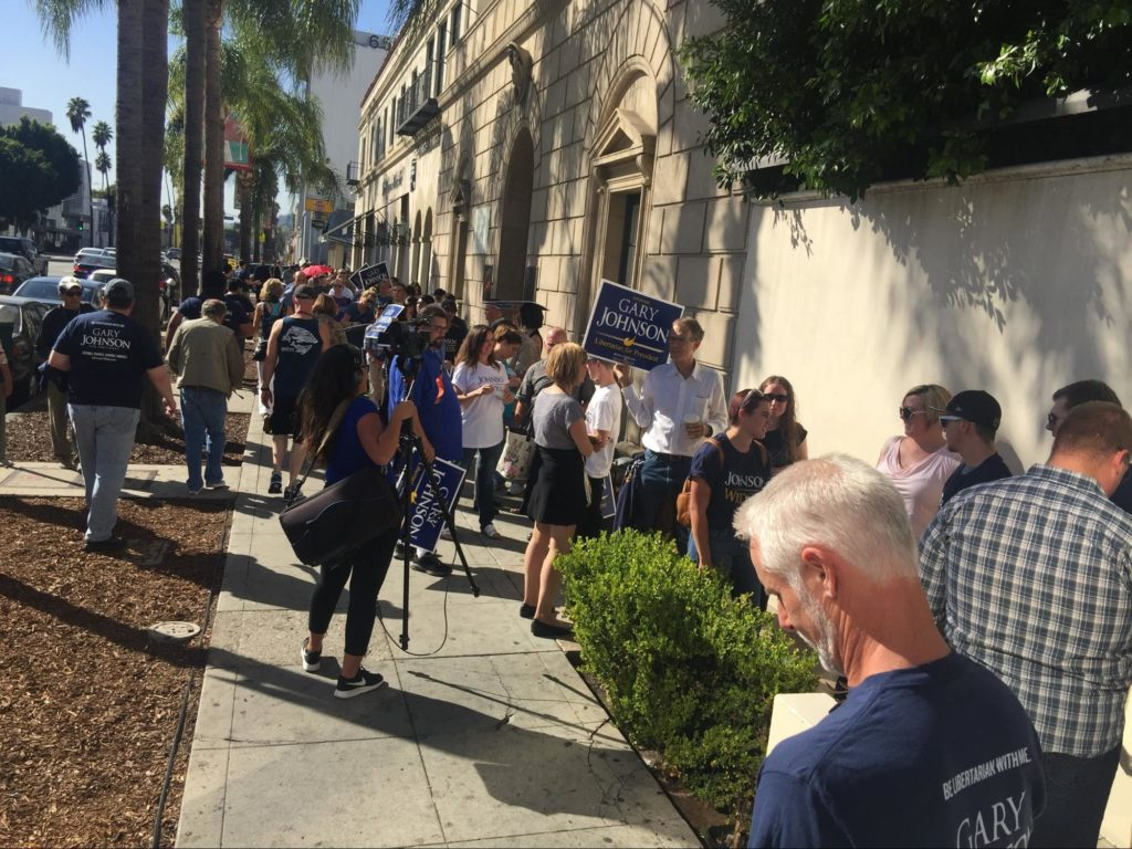 Hundreds of people lined up hours early to ensure they could get into the Gary Johnson Rally at the swank celebrities-only Boulevard 3 Club in Hollywood.