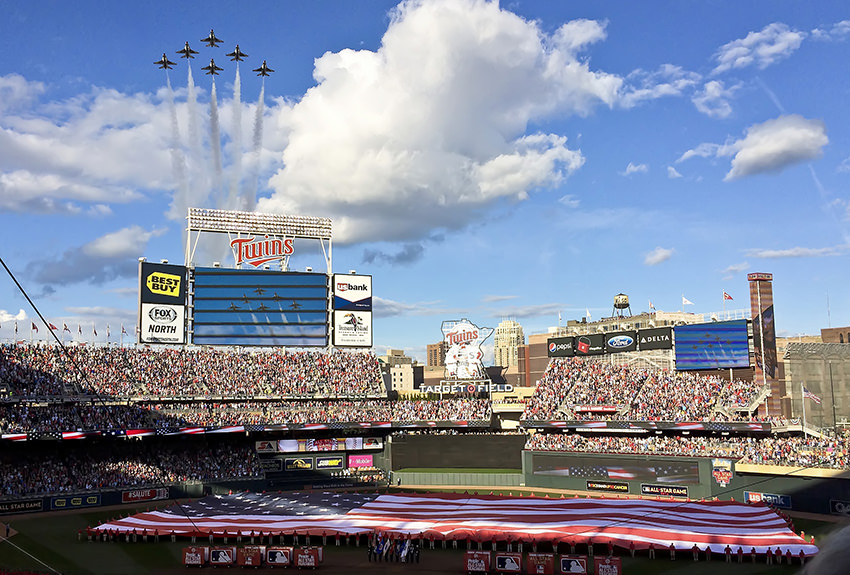 military flyover baseball