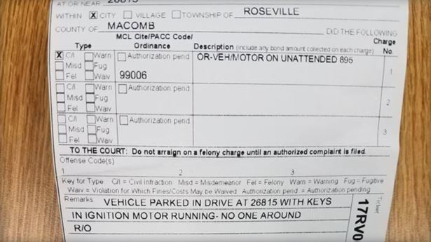 Ticketed for Leaving Car Running in Driveway