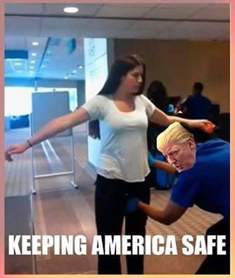"Donald Trump as a TSA agent groping a woman's crotch. Caption: ""Keeping America safe."""