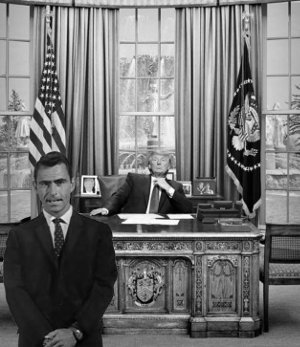 Donald Trump in the Oval Office with Rod Serling.
