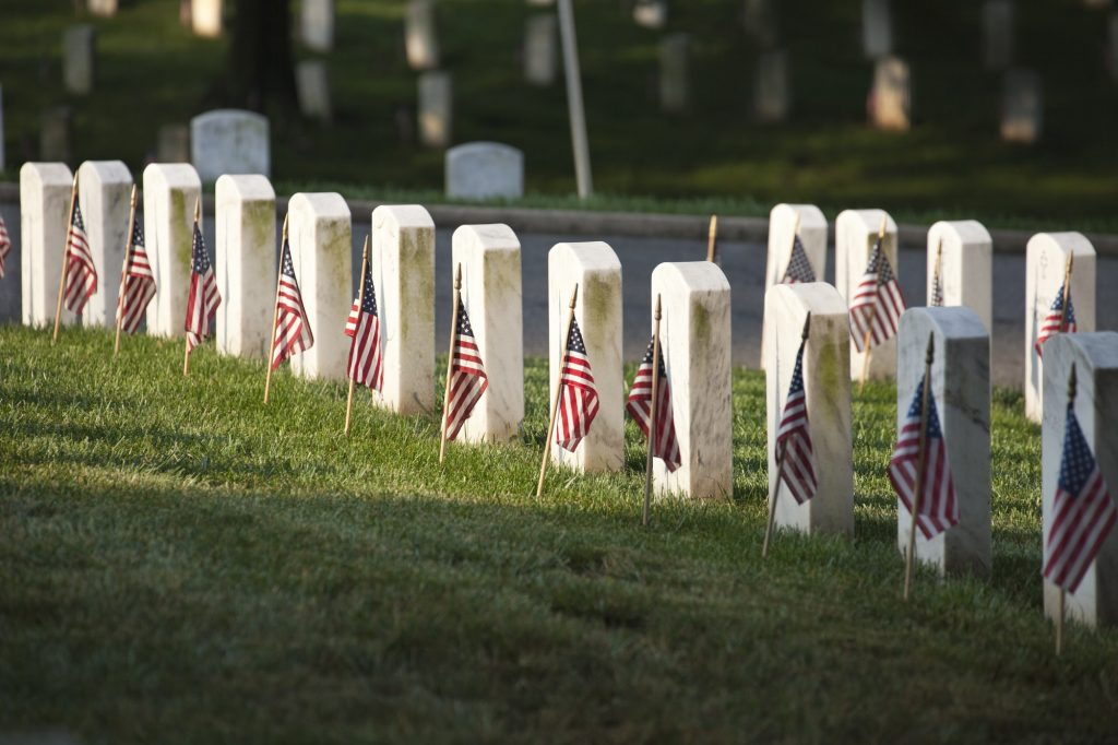 Tombstones with American Flags on Memorial Day at Arlington National Cemetery
