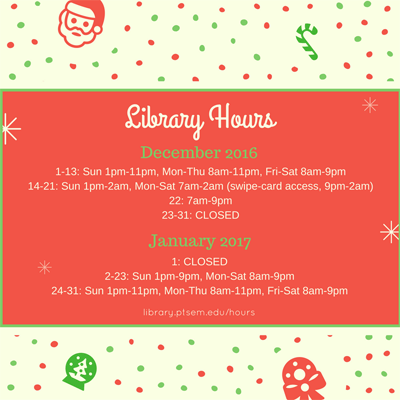 Graphic showing library hours during December 2016 and January 2017, same as text on this page