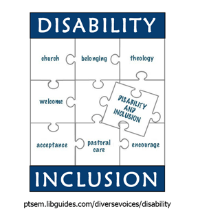 graphic that shows puzzle pieces with the words: disability, inclusion, church, belonging, theology, welcome, acceptance, pastoral care, encourage