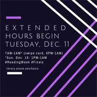graphic that says Extended Hours Begin Tuesday, December 11