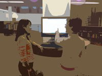 Student and library employee at a library catalog touch screen