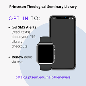 Graphic with illustrations of mobile devices and text that reads Opt-in to get SMS Alerts (read: texts) about your PTS Library checkouts, renew items via text