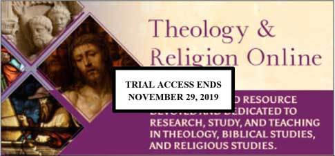 graphic with text: Theology & Religion Online Trial Access Until November 29, 2019