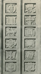 stone reliefs mounted on Speer Library