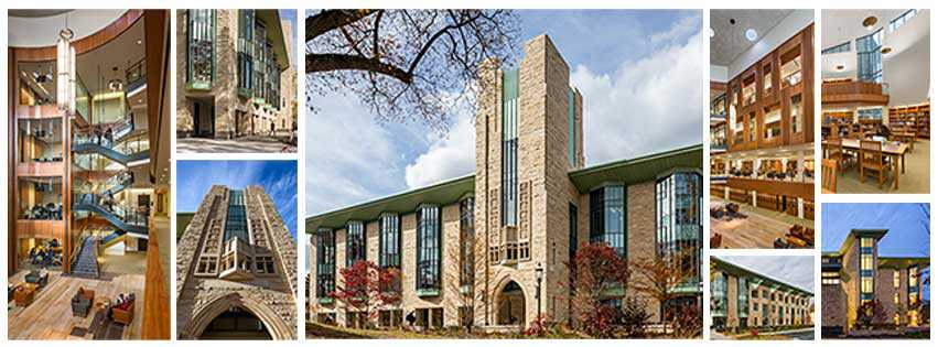collage of photos of Princeton Theological Seminary Library by K. Whalen