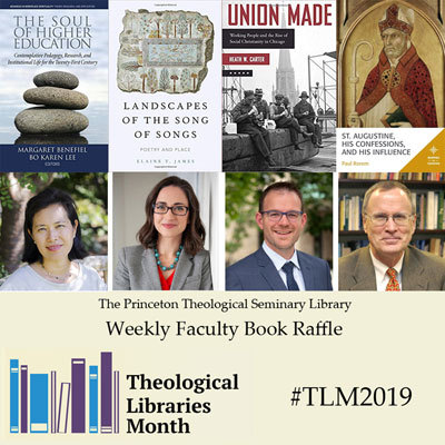 Book covers and faculty photos for the TLM 2019 weekly faculty book raffle; Landscapes of the Song of Songs : poetry and place by Elaine T. James; The Soul of Higher Education : contemplative pedagogy, research and institutional life for the twenty-first century edited by Margaret Benefiel and Bo Karen Lee; St. Augustine, his confessions, and his influence by Paul Rorem; and Union made : working people and the rise of social Christianity in Chicago by Heath W. Carter.
