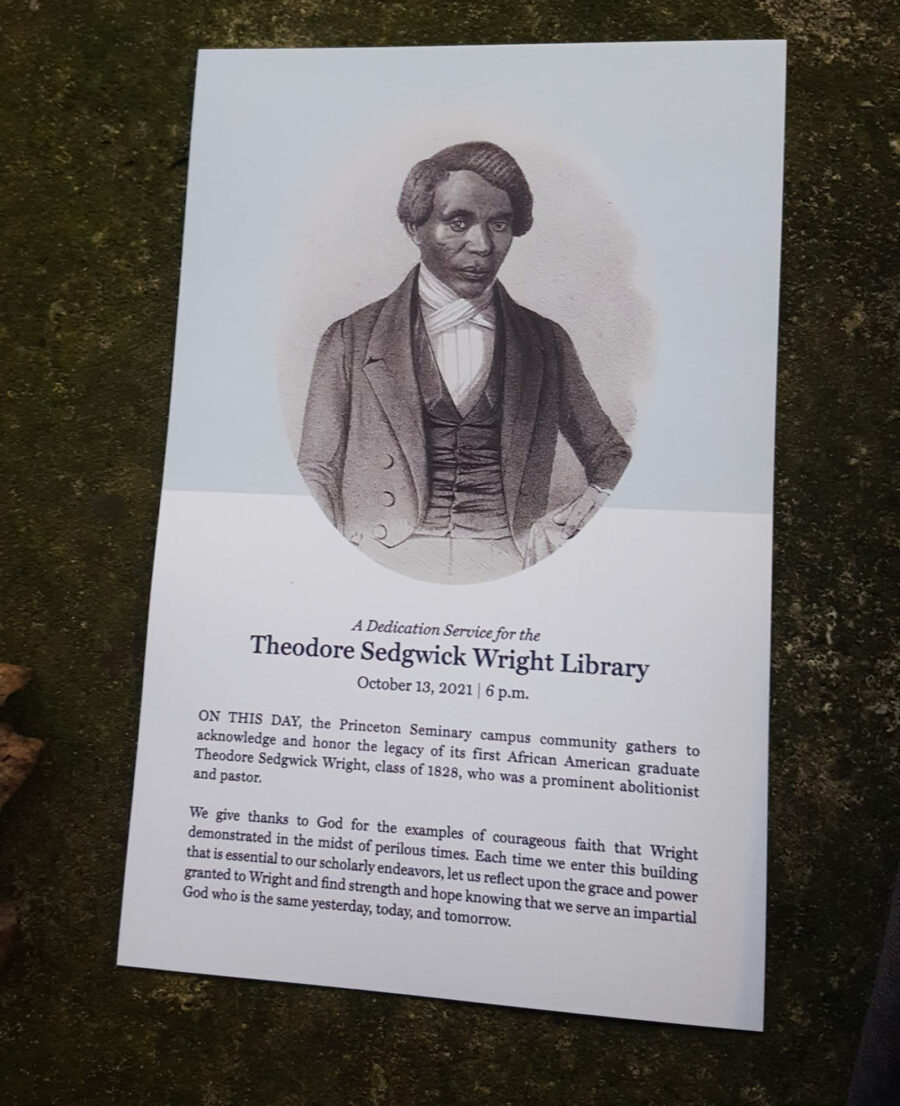 A Dedication Service for the Theodore Sedgwick Wright Library, October 13, 2021 6 p.m.