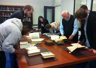 Students visit Special Collections to view primary sources
