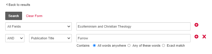 """screenshot of an advanced search for """"Ecofeminism and Christian Theology"""" in All Fields and """"Furrow"""" in the publication title field"""