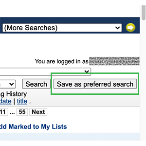 Screenshot of library catalog search results screen with Save as preferred search button highlighted