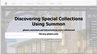 screen capture of Discovering Special Collections Using Summon title slide