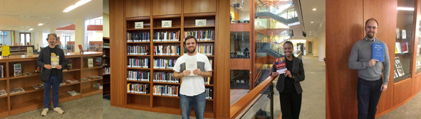 Faculty book raffle winners holding their prizes: David P. Smith, MDiv student (Exploring the Bible, by Eric D. Barreto and Michael J. Chan); Robert Cella, MDiv student (Tolerance among the Virtues, by John R. Bowlin); Kerry-Ann DaCosta, MDiv student (Rethinking Celebration: From Rhetoric to Praise in African American Preaching, by Cleophus J. LaRue); and Charles Johnson, PhD student (Where the Gods Are: spatial dimensions of anthropomorphism in the Biblical world​, by Mark S. Smith)