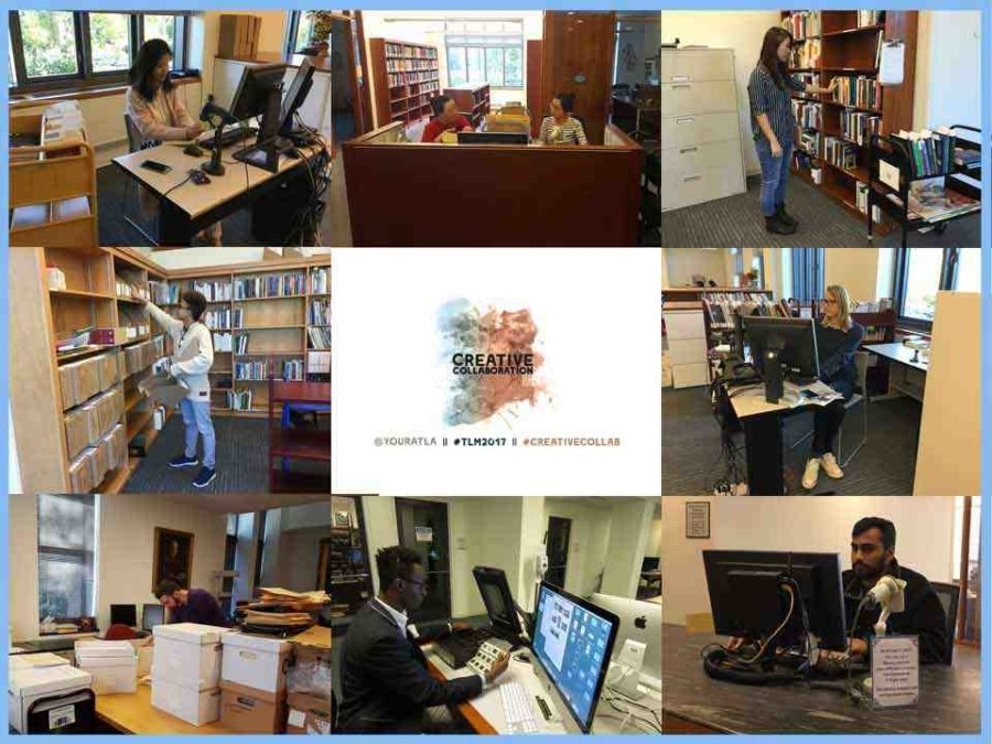 Creative Collaboration Theological Libraries Month 2017 graphic and photo collage of student workers at work