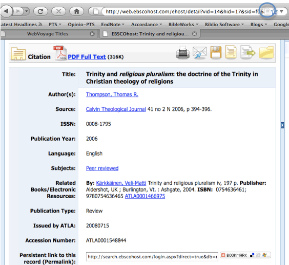 Screen capture of article record in ATLA Religion Database