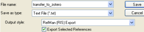 Screenshot of EndNote export window