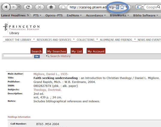 Screen capture of book record from online library catalog (OPAC)