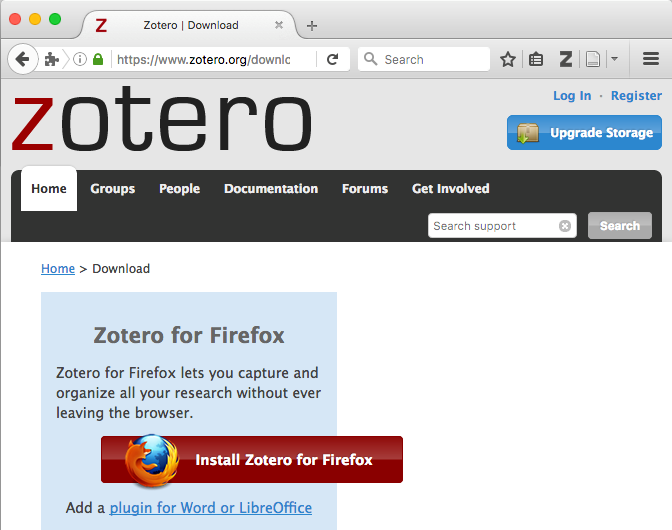 Screenshot example of the Zotero Z icon in the browser toolbar.