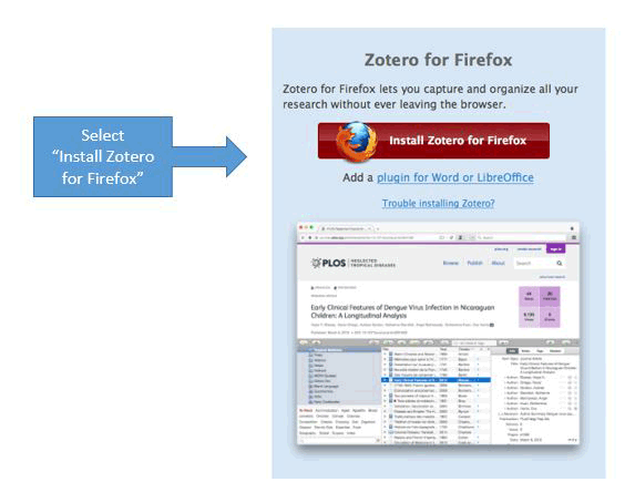 "Screenshot of Zotero for Firefox screen with instruction box that reads: ""Select Install Zotero for Firefox"""