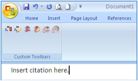 Screenshot of Word document with cursor indicating desired location of citation at the end of a sentence.