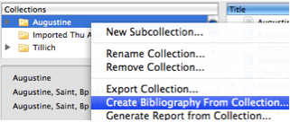 Screenshot of Collections window with Create Bibliography from Collection... selected