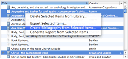 Screenshot of the right-click menu with Create Bibliography from Selected Items... selected