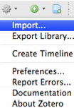 Screenshot of Zotero Actions menu with Import... selected