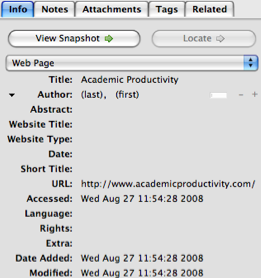 "Screenshot of Zotero create new item menu ""Info"" tab"