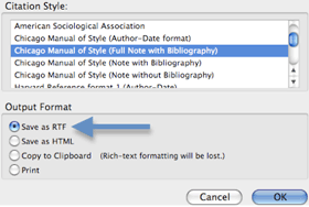 Screenshot of the Citation Style window with arrow indicating the output format Save to RTF