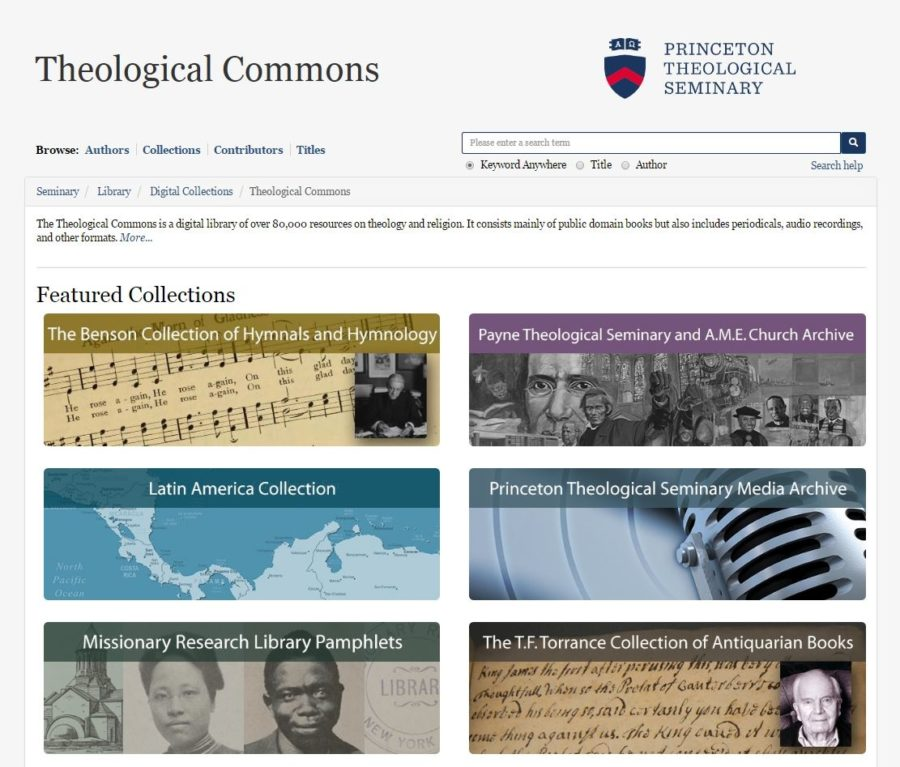 Screenshot of the Theological Commons home page