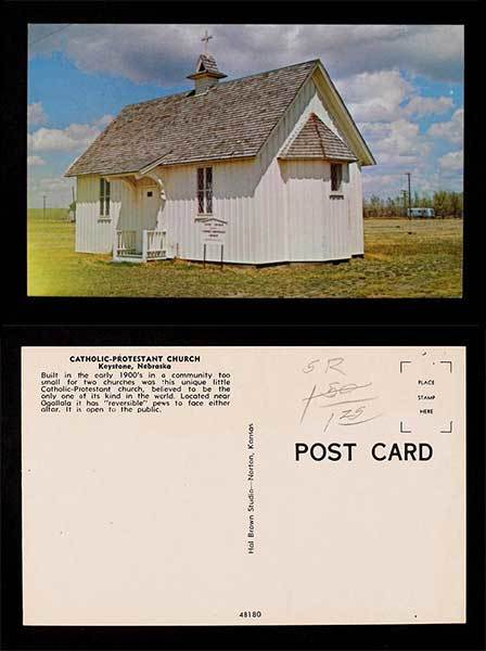 Catholic-Protestant Church, Keystone Nebraska, church postcard
