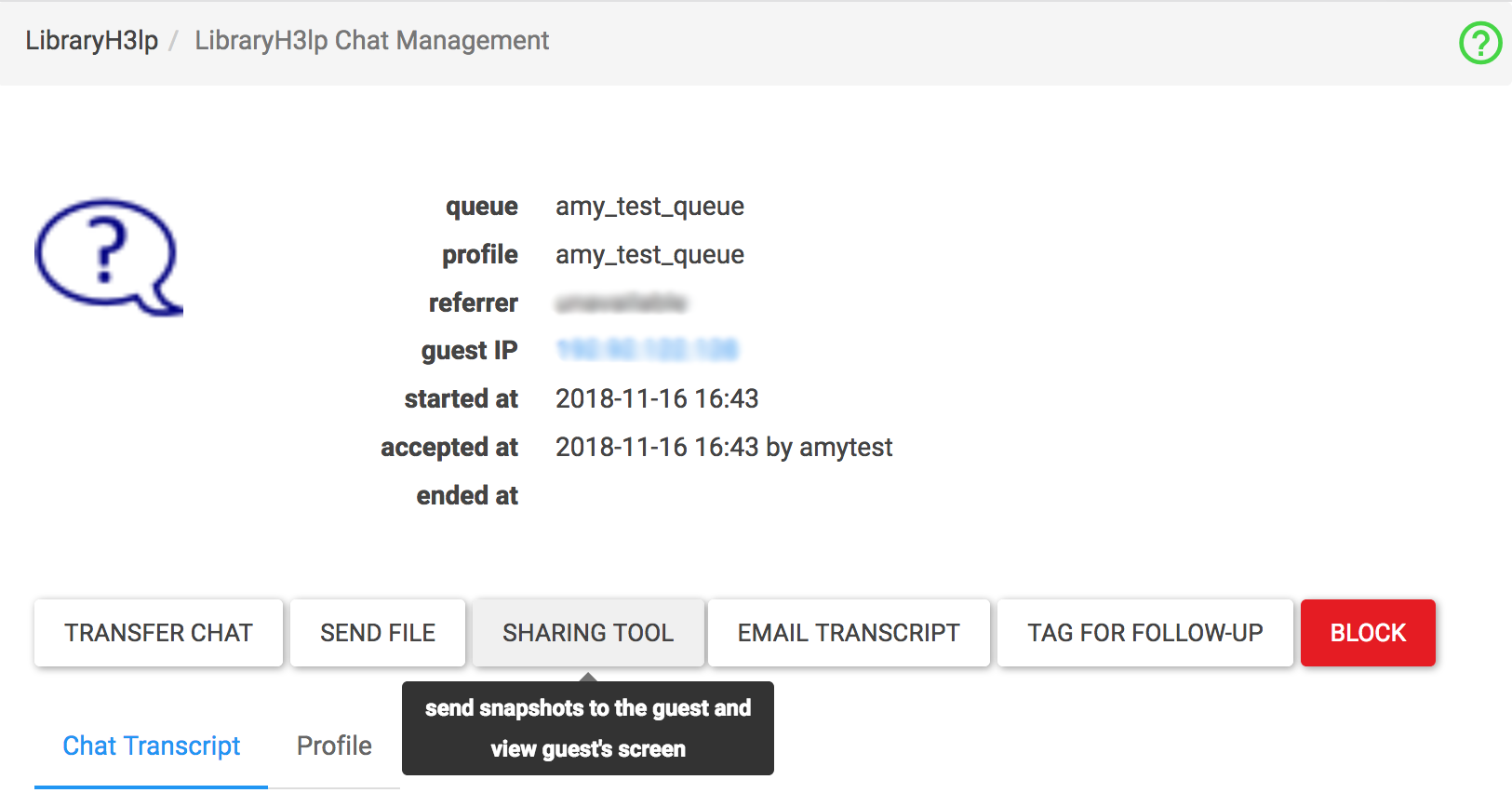 screenshot of the sharing tool in the external client page