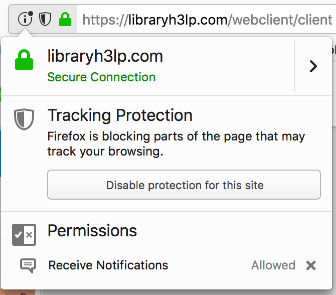 firefox tracking protection in site information