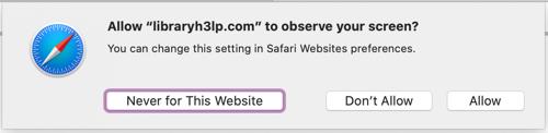 Granting screensharing permissions in Safari