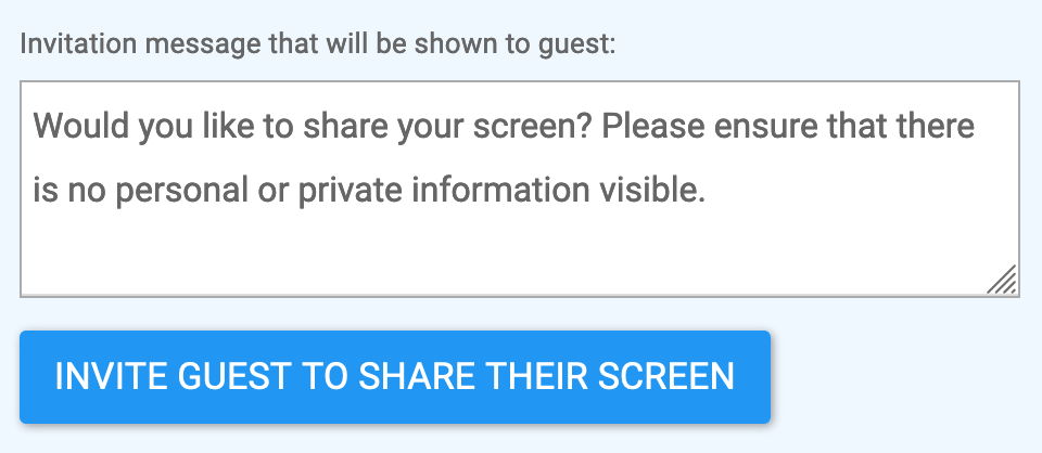 screenshot of default screensharing invitation to the guest