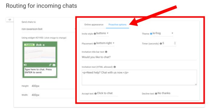 proactive chat invitation configuration