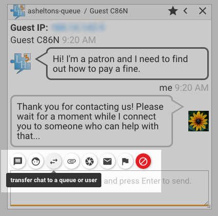 chat screenshot highlighing management toolbar