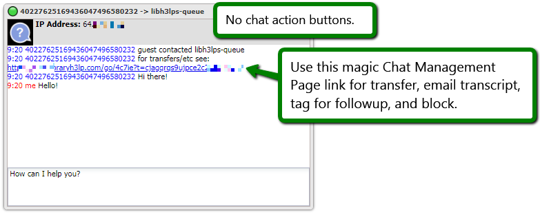 Chat management link screenshot