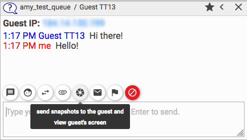 screenshot of the sharing tool for a chat in the webclient for staffing